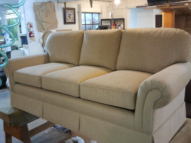 Light brown fabric couch upholstered by Portland Commercial Upholstery