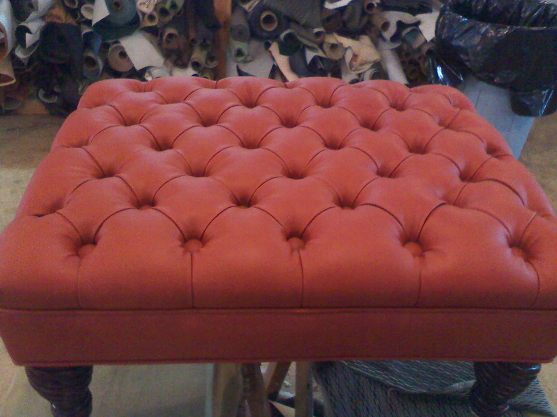 Re-upholstered ottoman, re-upholstered foot stool by Portland Commercial Upholstery