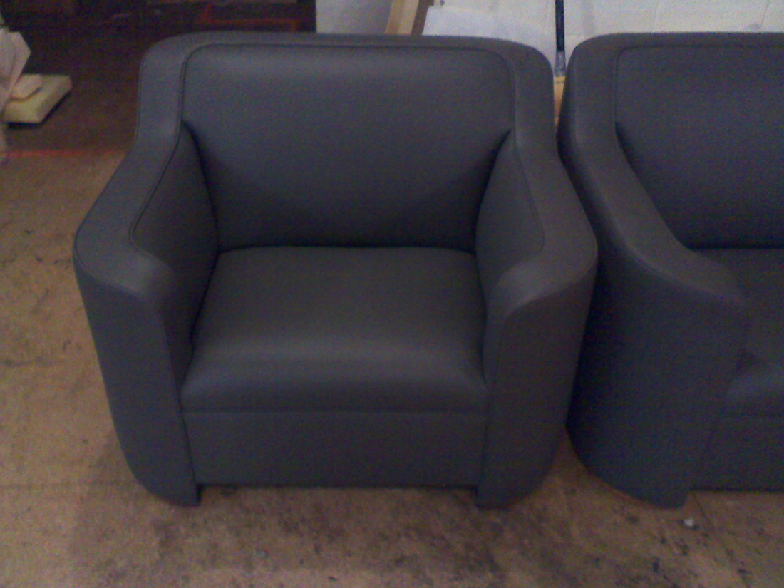 Matching lounge chair upholstered by Portland Commercial Upholstery