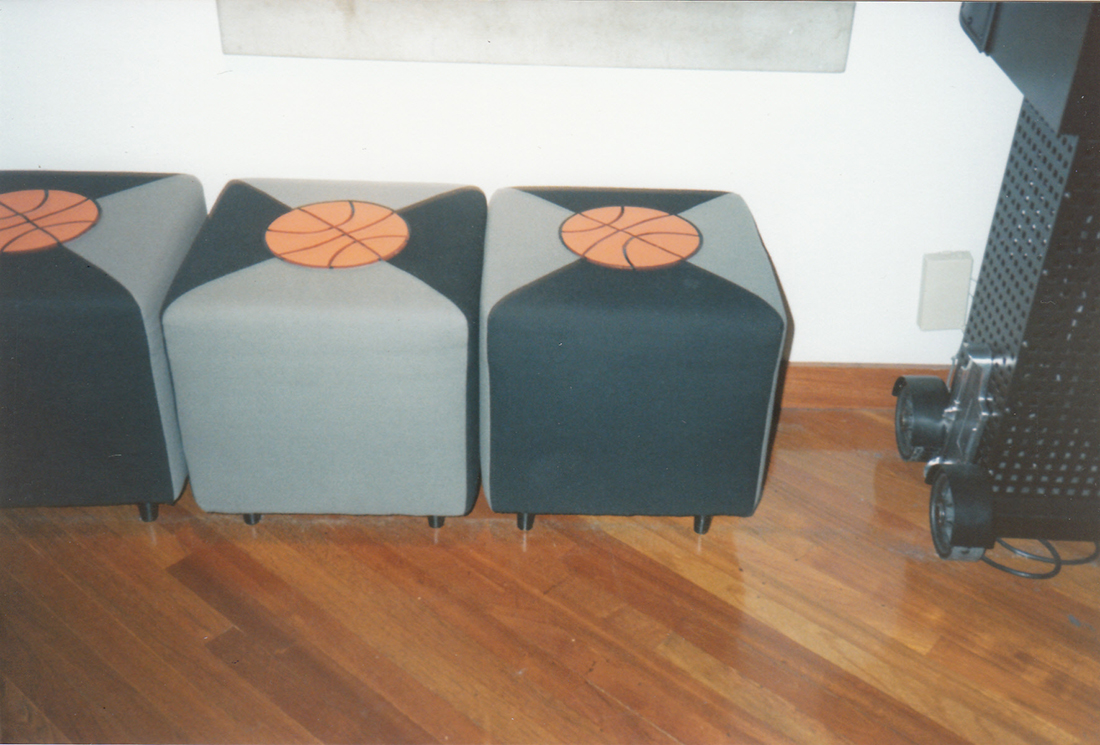 basketball bar stool custom upholstery by portland commercial upholstery