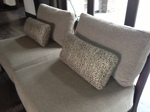 2 chair uholstered with a textured grey fabric by Portland Commercial Upholstery
