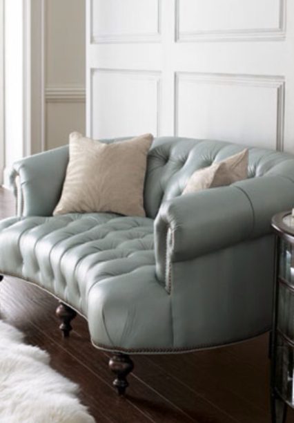 Re-upholstered antique ice blue sofa by Portland Commercial Upholstery