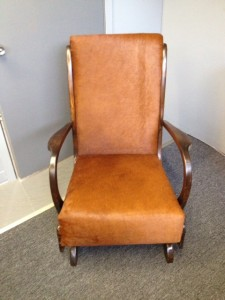 New fabric and and a reassembled frame, Portland Commercial Upholstry brought this rocking chair back to life