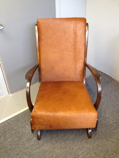 Beautiful re-upholstered rocking chair brought by to like by Portland Commercial Upholstery