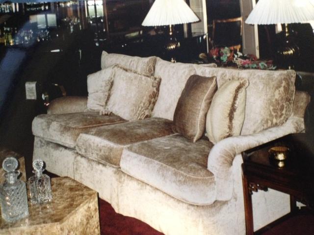 Chenille sofa upholstered by Portland Commercial Upholstery