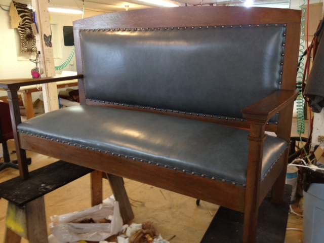 After photograph of a bench reupholstered by Portland Commercial Upholstery