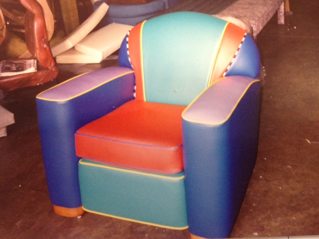 Custom upholstered vinyl chair by Portland Commercial Upholstery